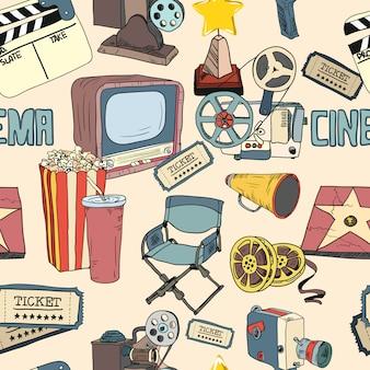 色の映画館のシームレスなパターンの壁紙