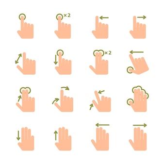 Значки жестов рукой экрана касания установленные комплекта щипка и касания изолированной иллюстрации вектора
