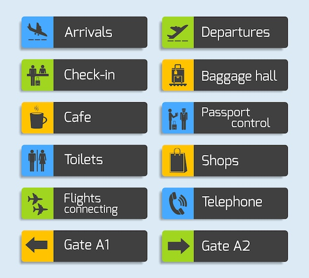 Набор вывесок для навигационного дизайна аэропорта