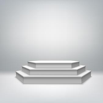空白のホワイトステージ表彰台