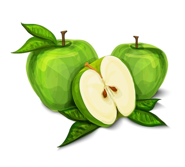 Зеленый натуральный яблочный фрукт