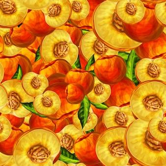 Бесшовные персик фрукты нарезанный узор