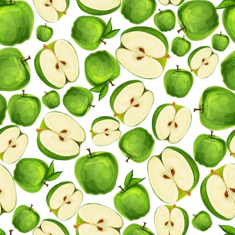 Бесшовные яблок нарезанный пополам с семенами и листьями шаблон рисованной эскиз векторная иллюстрация