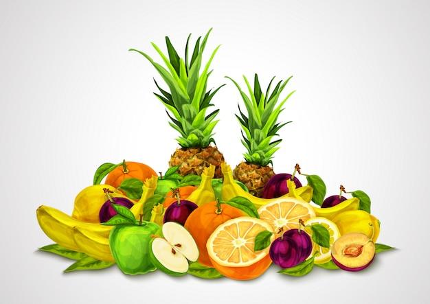 Набор тропических фруктов натюрморт