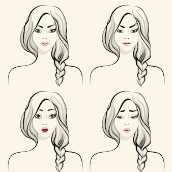 女性の顔の感情セット