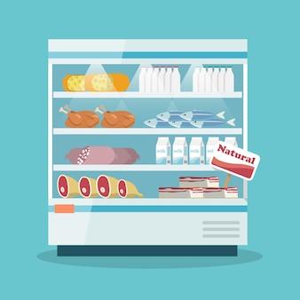 スーパーマーケットの冷却棚食品コレクション