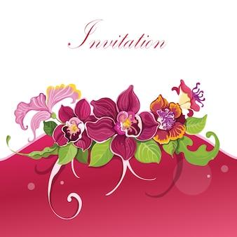 熱帯の花の招待状のデザインの背景