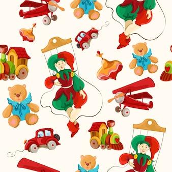 おもちゃの色の描かれたシームレスパターン