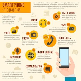 Смартфон инфографика набор