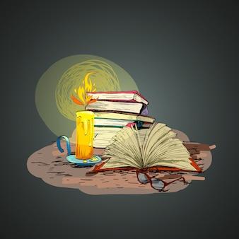 Свеча книга рука рисунок иллюстрация