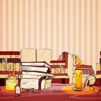キャンドルブックのシームレスなパターンの壁紙