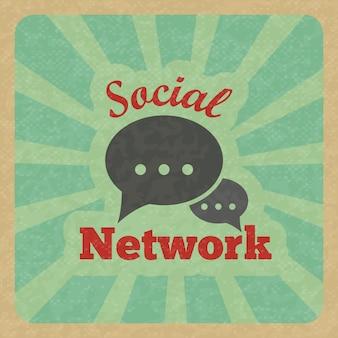 チャットメッセージ音声トークテキストバブル通信ソーシャルネットワークレトロなポスターベクトルイラスト。