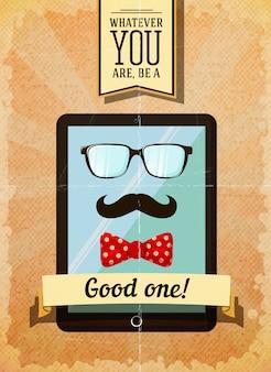 Хипстерский плакат с винтажным планшетом