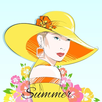 Летняя мода девушка в желтой шляпе