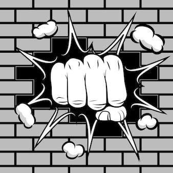 握りこぶしが壁の紋章を打つ