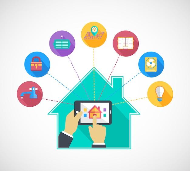 Рука, держащая мобильный телефон, управляет умным домом