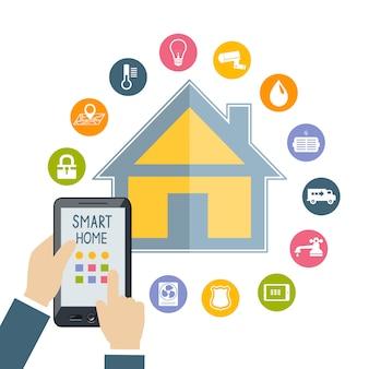 携帯電話を持っている手がスマートホームを制御します