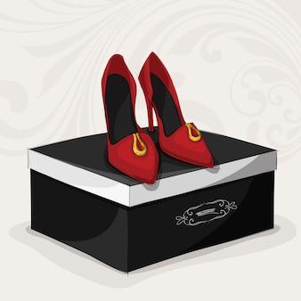 ファッション女性の赤い靴