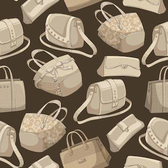 シームレスな女性のスタイリッシュなバッグのレトロなパターン