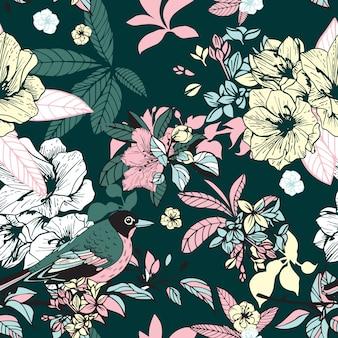 Цветы и птицы бесшовные
