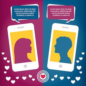 携帯電話を使用して話しているカップル仮想愛