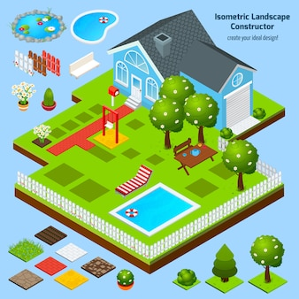 Ландшафтный дизайн изометрические