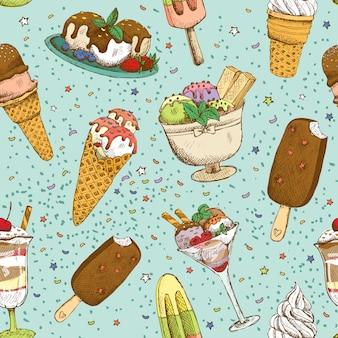 アイスクリームのシームレスな背景パターン