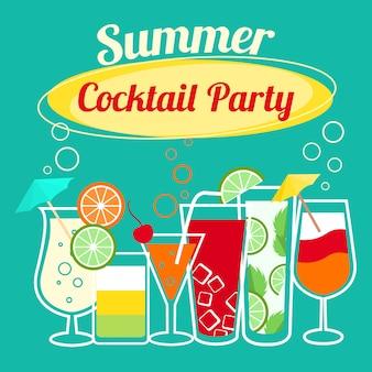 Летние коктейли вечеринка баннер приглашение флаер шаблон карты