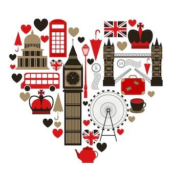 Любовь лондон символ сердца с набором иконок, изолированные