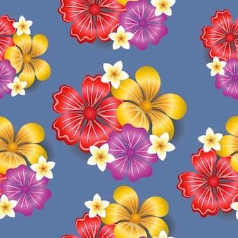 熱帯の花のシームレスなパターン背景