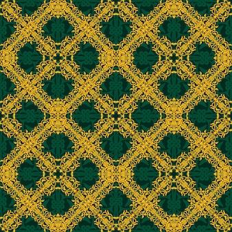 Бесшовные желтый и зеленый узор в арабском или мусульманском стиле