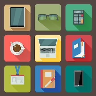 Бизнес набор иконок на рабочем месте