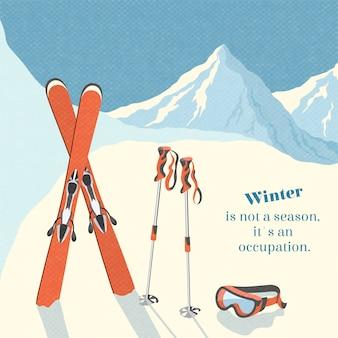 Лыжный зимний горный пейзаж фон ретро постер