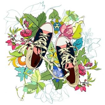 ための半靴スケッチ花
