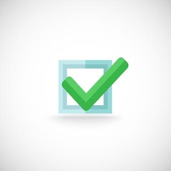 Декоративный синий квадрат контур флажок зеленый цвет галочка подтверждение чек метка интернет символ пиктограмма векторная иллюстрация