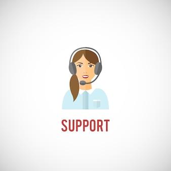 顧客テクニカルサポート対話型サービス担当者ヘッドフォンエンブレムアイコンベクトルイラストを持つ若い女性