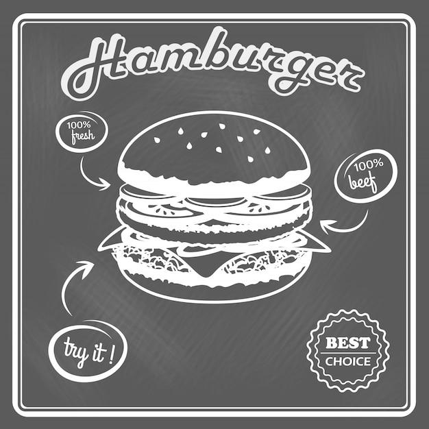 Гамбургер в стиле ретро постер