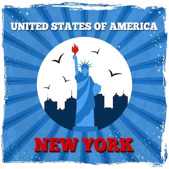 Нью-йорк сша ретро постер