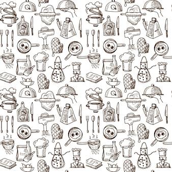 料理アイコンのシームレスパターン