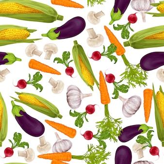 野菜のリアルなシームレスパターン