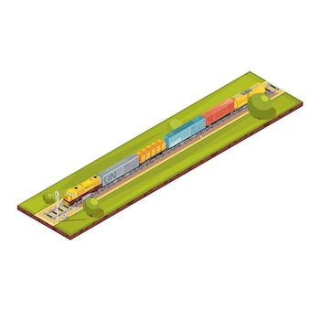 Состав поездов с изображением изометрической железнодорожной перевозки с грузовым поездом набор автомобилей и деревьев векторная иллюстрация