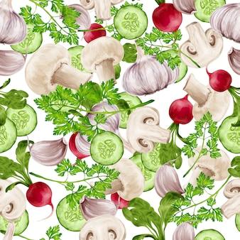 野菜ミックスのシームレスパターン