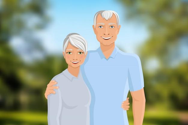 年配のカップルの屋外