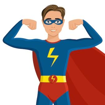 スーパーヒーロー衣装の少年