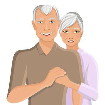 年配のカップルの肖像画