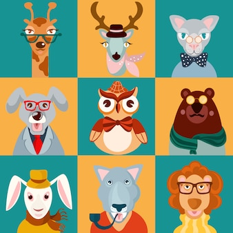 Плоские иконки животных хипстеров