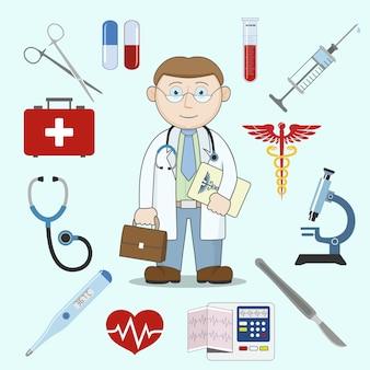 医者のキャラクターと薬のアイコン