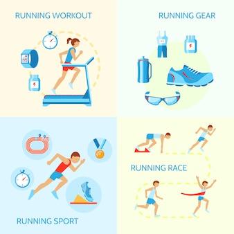 トレーニングギアスポーツレースアイコン分離ベクトル図のジョギング組成を実行しています。