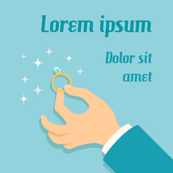 Укомплектуйте личным составом руку держа дорогое золотое кольцо с плакатом предложения руки и сердца диаманта