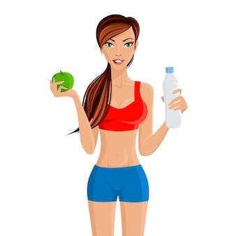 Девушка фитнеса здорового образа жизни